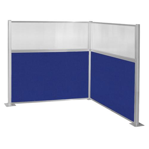 Pre-Configured Hush Panel Cubicle (L Shape) 6' x 6' W/ Window Royal Blue Fabric