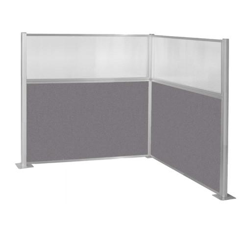 Pre-Configured Hush Panel Cubicle (L Shape) 6' x 6' W/ Window Slate Fabric