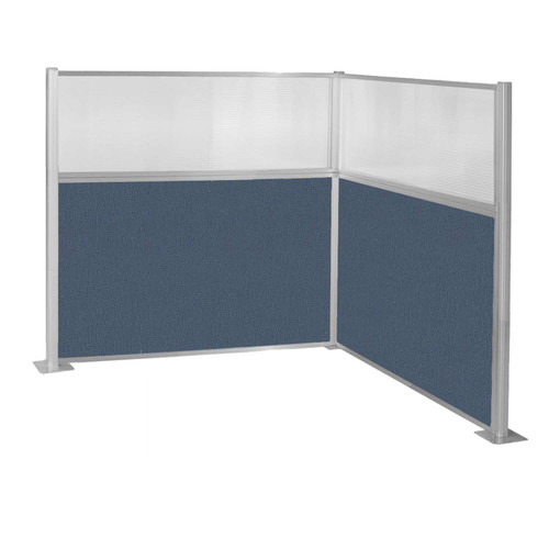 Pre-Configured Hush Panel Cubicle (L Shape) 6' x 6' W/ Window Ocean Fabric