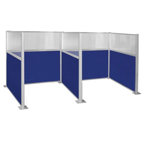 Pre-Configured Hush Panel Cubicle 6' x 6' W/ Window Royal Blue Fabric