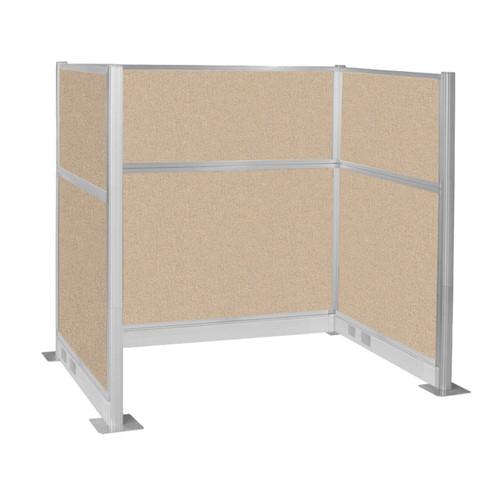 Pre-Configured Hush Panel Electric Cubicle (U Shape) 6' x 4' Beige Fabric