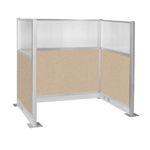 Pre-Configured Hush Panel Electric Cubicle (U Shape) 6' x 4' W/ Window Beige Fabric