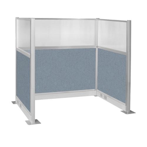 Pre-Configured Hush Panel Electric Cubicle (U Shape) 6' x 4' W/ Window Powder Blue Fabric