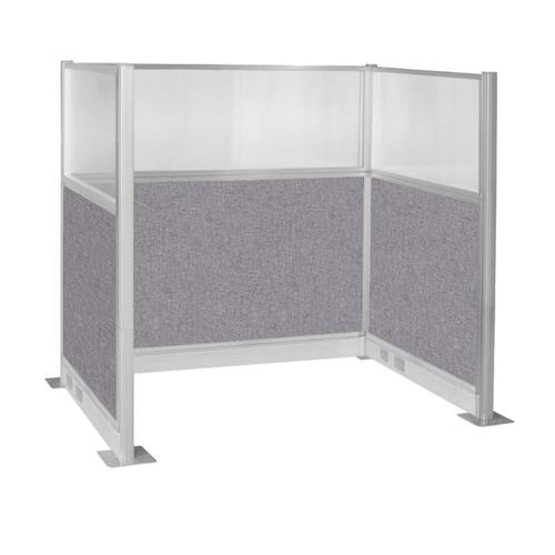 Pre-Configured Hush Panel Electric Cubicle (U Shape) 6' x 4' W/ Window Cloud Gray Fabric
