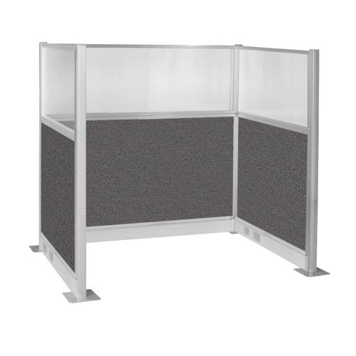 Pre-Configured Hush Panel Electric Cubicle (U Shape) 6' x 4' W/ Window Charcoal Gray Fabric
