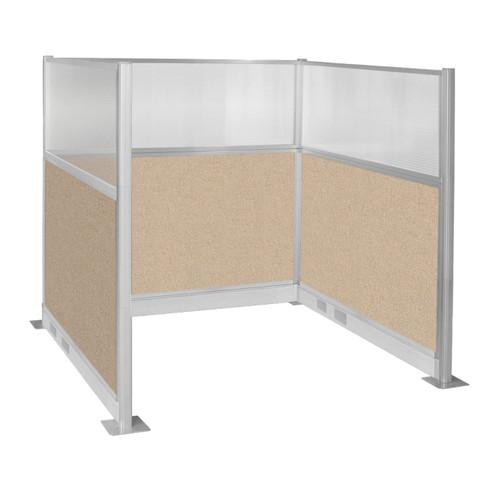 Pre-Configured Hush Panel Electric Cubicle (U Shape) 6' x 6' W/ Window Beige Fabric