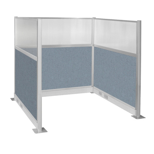 Pre-Configured Hush Panel Electric Cubicle (U Shape) 6' x 6' W/ Window Powder Blue Fabric