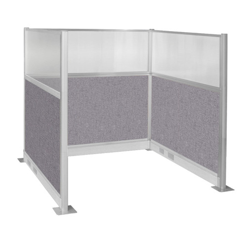 Pre-Configured Hush Panel Electric Cubicle (U Shape) 6' x 6' W/ Window Cloud Gray Fabric
