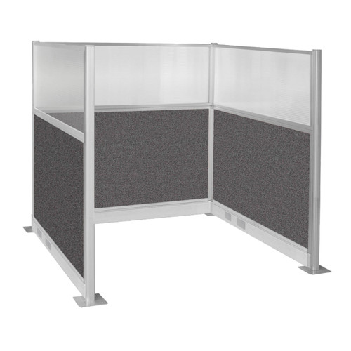 Pre-Configured Hush Panel Electric Cubicle (U Shape) 6' x 6' W/ Window Charcoal Gray Fabric