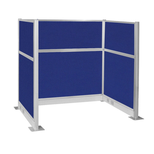 Pre-Configured Hush Panel Electric Cubicle (U Shape) 6' x 4' Royal Blue Fabric