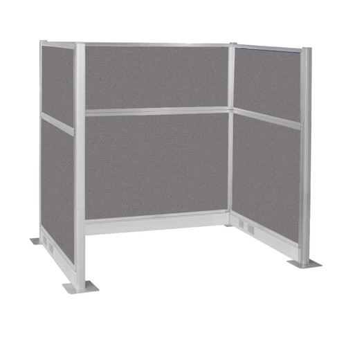 Pre-Configured Hush Panel Electric Cubicle (U Shape) 6' x 4' Slate Fabric