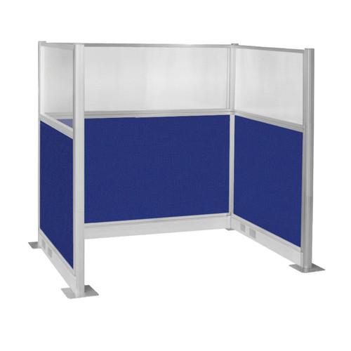 Pre-Configured Hush Panel Electric Cubicle (U Shape) 6' x 4' W/ Window Royal Blue Fabric