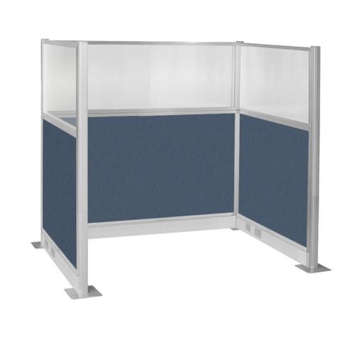 Pre-Configured Hush Panel Electric Cubicle (U Shape) 6' x 4' W/ Window Ocean Fabric