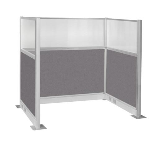 Pre-Configured Hush Panel Electric Cubicle (U Shape) 6' x 4' W/ Window Slate Fabric