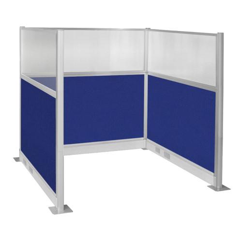 Pre-Configured Hush Panel Electric Cubicle (U Shape) 6' x 6' W/ Window Royal Blue Fabric