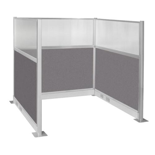 Pre-Configured Hush Panel Electric Cubicle (U Shape) 6' x 6' W/ Window Slate Fabric