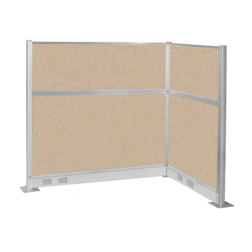Pre-Configured Hush Panel Electric Cubicle (L Shape) 6' x 4' Beige Fabric