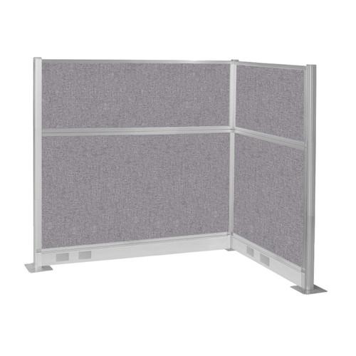 Pre-Configured Hush Panel Electric Cubicle (L Shape) 6' x 4' Cloud Gray Fabric