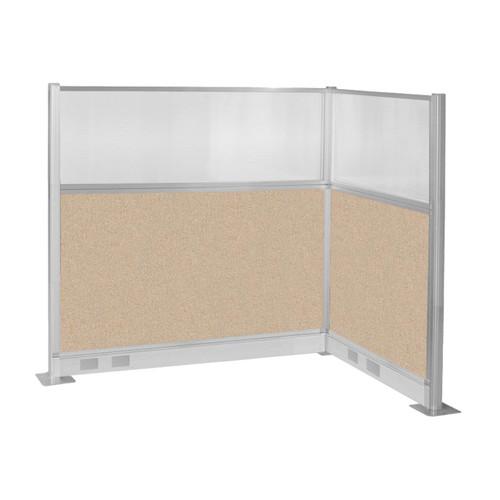 Pre-Configured Hush Panel Electric Cubicle (L Shape) 6' x 4' w/ Window Beige Fabric