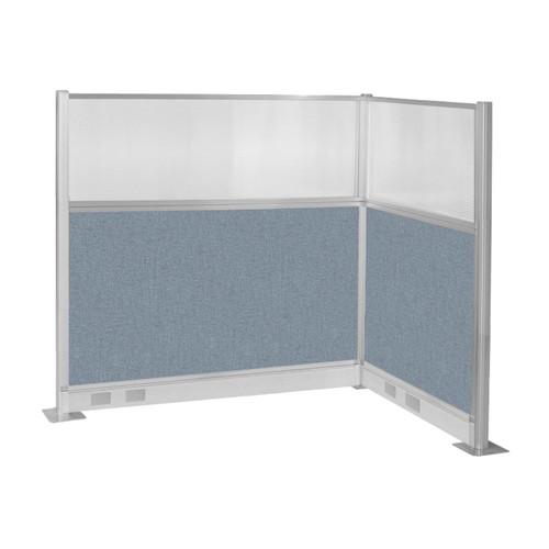 Pre-Configured Hush Panel Electric Cubicle (L Shape) 6' x 4' w/ Window Powder Blue Fabric