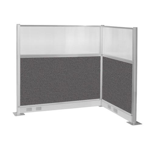 Pre-Configured Hush Panel Electric Cubicle (L Shape) 6' x 4' w/ Window Charcoal Gray Fabric