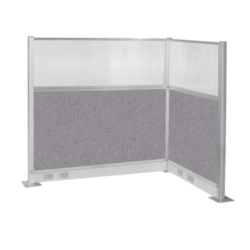 Pre-Configured Hush Panel Electric Cubicle (L Shape) 6' x 4' w/ Window Cloud Gray Fabric