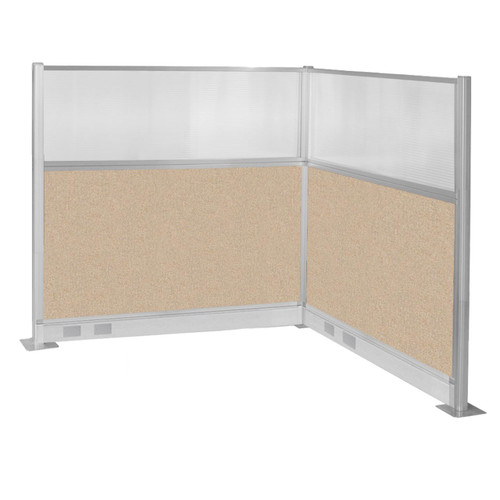 Pre-Configured Hush Panel Electric Cubicle (L Shape) 6' x 6' W/ Window Beige Fabric