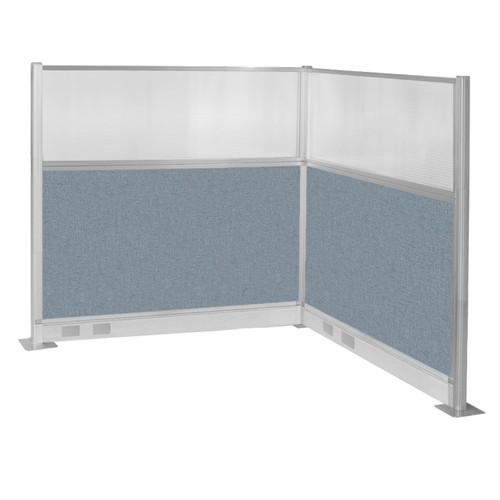 Pre-Configured Hush Panel Electric Cubicle (L Shape) 6' x 6' W/ Window Powder Blue Fabric