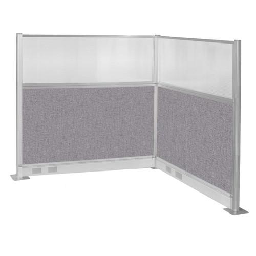 Pre-Configured Hush Panel Electric Cubicle (L Shape) 6' x 6' W/ Window Cloud Gray Fabric