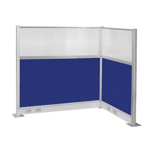 Pre-Configured Hush Panel Electric Cubicle (L Shape) 6' x 4' w/ Window Royal Blue Fabric