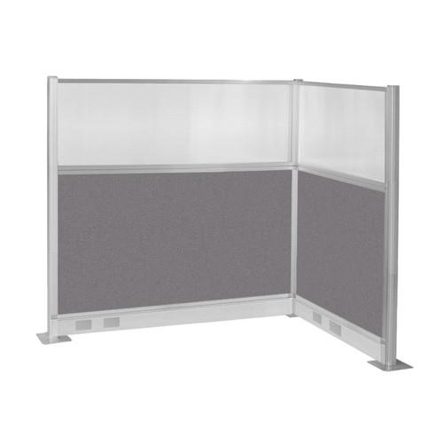 Pre-Configured Hush Panel Electric Cubicle (L Shape) 6' x 4' w/ Window Slate Fabric