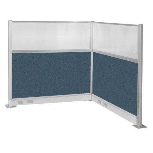 Pre-Configured Hush Panel Electric Cubicle (L Shape) 6' x 6' W/ Window Caribbean Fabric