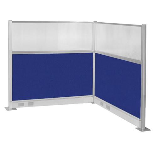 Pre-Configured Hush Panel Electric Cubicle (L Shape) 6' x 6' W/ Window Royal Blue Fabric