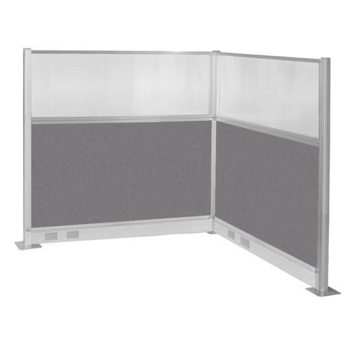 Pre-Configured Hush Panel Electric Cubicle (L Shape) 6' x 6' W/ Window Slate Fabric