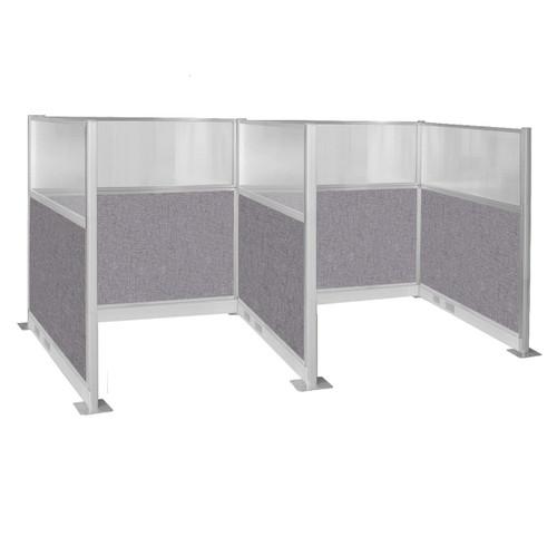 Pre-Configured Hush Panel Electric Cubicle 6' x 6' W/ Window Cloud Gray Fabric