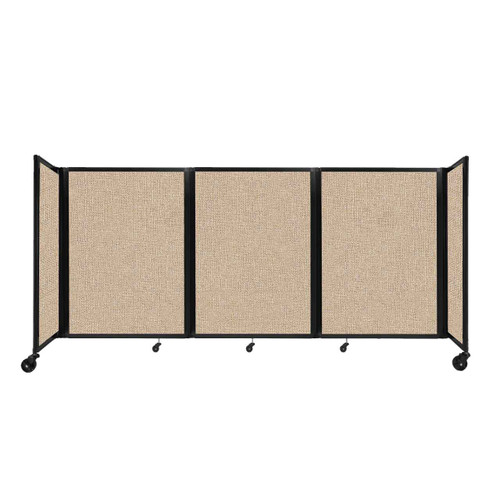 """Room Divider 360 Folding Portable Partition 8'6"""" x 4' Beige Fabric"""