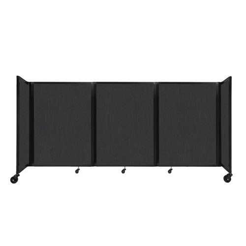 """Room Divider 360 Folding Portable Partition 8'6"""" x 4' Black Fabric"""