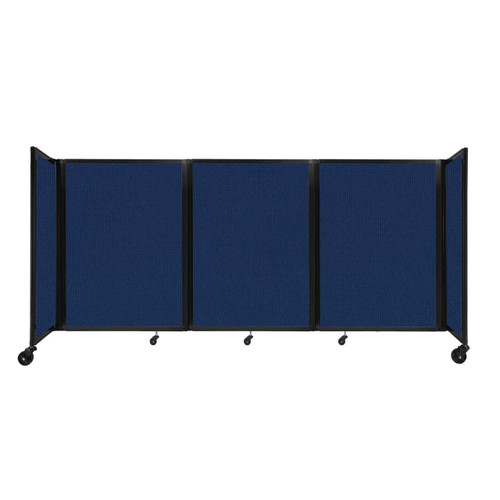 """Room Divider 360 Folding Portable Partition 8'6"""" x 4' Navy Blue Fabric"""