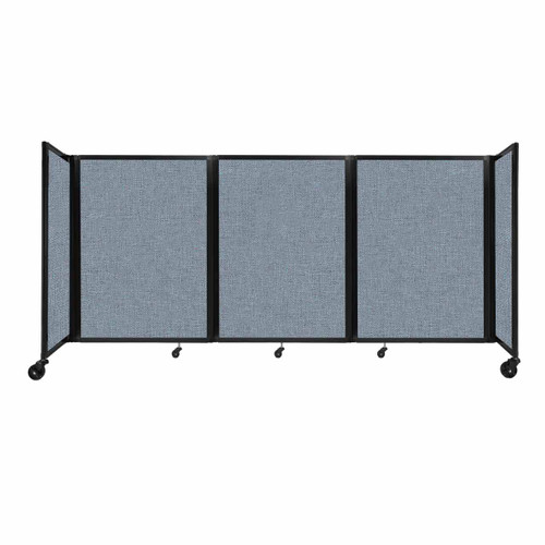 """Room Divider 360 Folding Portable Partition 8'6"""" x 4' Powder Blue Fabric"""