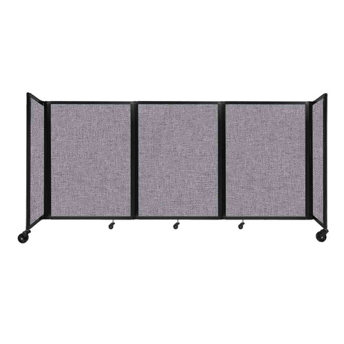 """Room Divider 360 Folding Portable Partition 8'6"""" x 4' Cloud Gray Fabric"""