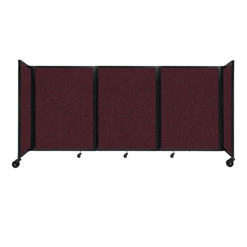"""Room Divider 360 Folding Portable Partition 8'6"""" x 4' Cranberry Fabric"""