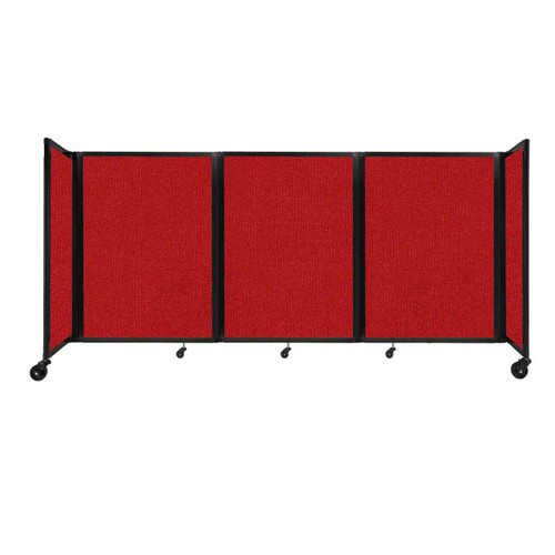 """Room Divider 360 Folding Portable Partition 8'6"""" x 4' Red Fabric"""