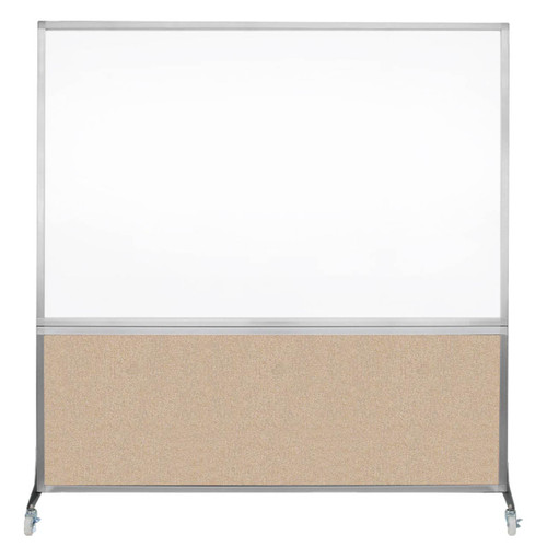 DivideWrite Portable Whiteboard Partition 6' x 6' Beige Fabric