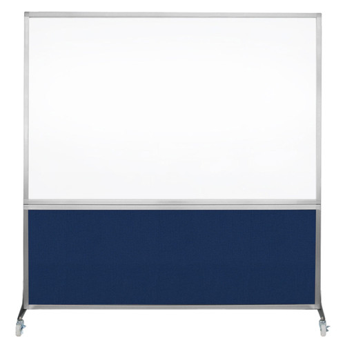 DivideWrite Portable Whiteboard Partition 6' x 6' Navy Blue Fabric