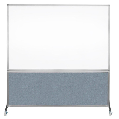DivideWrite Portable Whiteboard Partition 6' x 6' Powder Blue Fabric