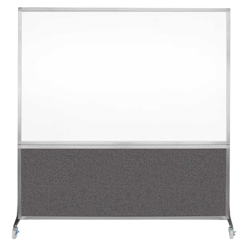 DivideWrite Portable Whiteboard Partition 6' x 6' Charcoal Gray Fabric