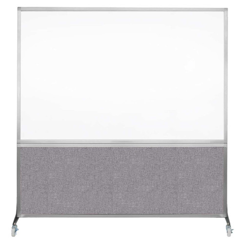DivideWrite Portable Whiteboard Partition 6' x 6' Cloud Gray Fabric