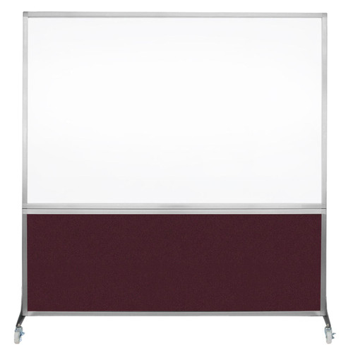 DivideWrite Portable Whiteboard Partition 6' x 6' Cranberry Fabric