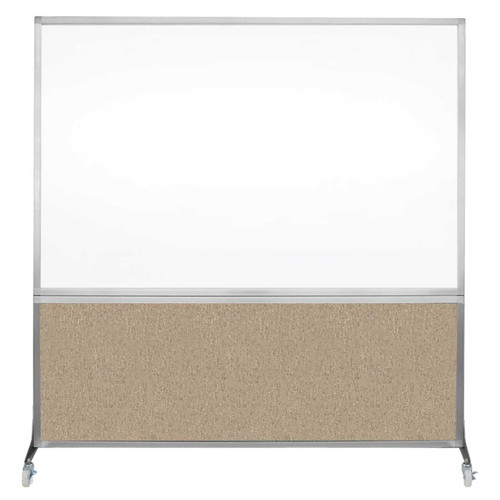 DivideWrite Portable Whiteboard Partition 6' x 6' Rye Fabric