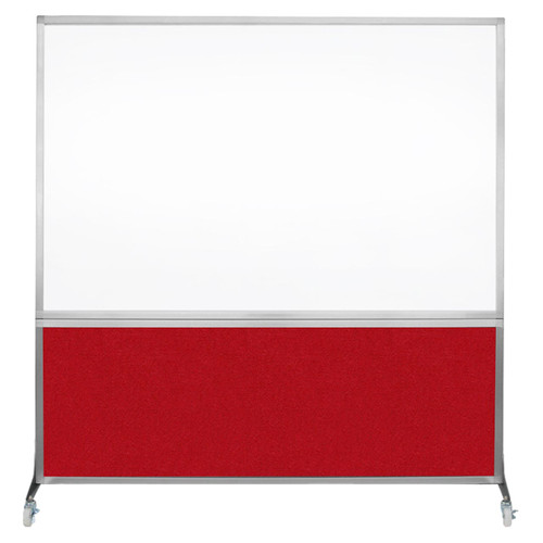 DivideWrite Portable Whiteboard Partition 6' x 6' Red Fabric